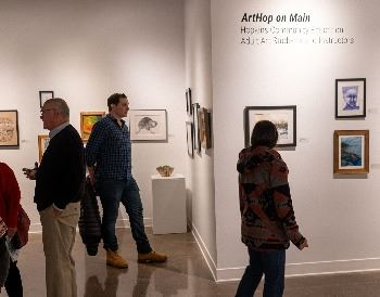 ArtHop on Main exhibition. Image of Redepenning Gallery showing a variety of work by community educa