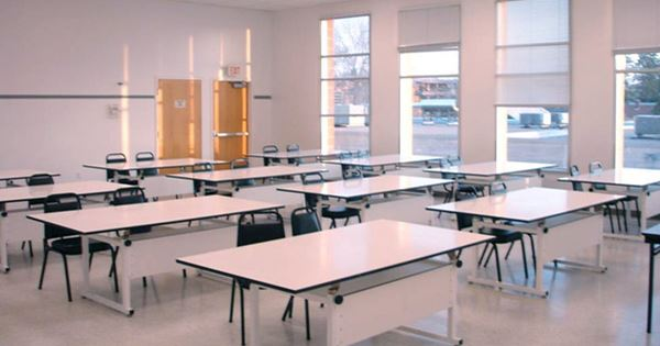 Classroom with Chairs and Tables